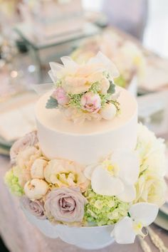 If the lacy cakes are too pricy, a simple one/two tier cake with flower decor is nice too