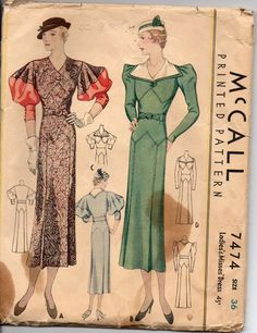 McCall 7474 Ladies' Misses' Dress 1933 Sz36 env fair staining Complete c/c sld 102.5+fr 7bds 3/11/15