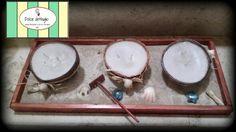 Centro de mesa- velas de coco con arenero