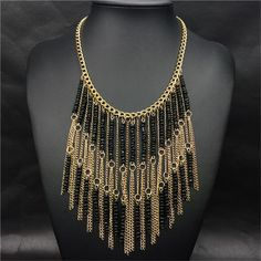 Black 2016  Women Vintage Bohemia Seed Beaded Chain Long Fringe Tassels Statement Necklace Choker  Blogger Pendant Collar bib