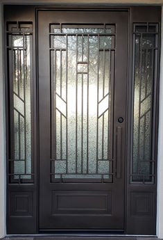 Entry Doors With Sidelights Iron Front Door, Exterior Front Doors, House Front Door, Window Grill Design Modern, Window Design, Entry Door With Sidelights, Entry Doors, Iron Phoenix, Wrought Iron Doors