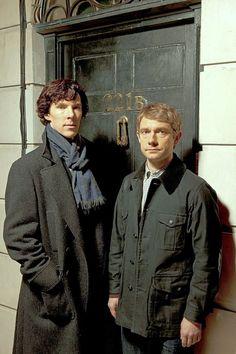 "Benedict Cumberbatch as Sherlock Holmes and Martin Freeman as John H. Watson, M.D. on PBS Masterpiece's ""Sherlock""."