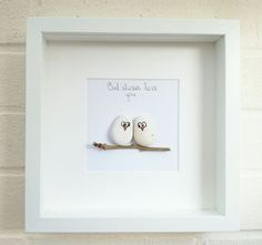 Pebble picture pebble art love owls birds owl gift idea home decor handmade