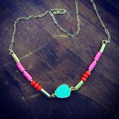 Turquoise stone with African vinyl beads on a gold plated chain @shophallelu