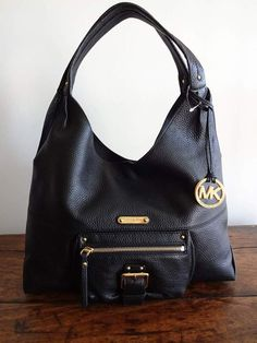 MICHAEL KORS Austin BLACK Pebbled LEATHER HOBO SHOULDER Tote BAG $348 #MichaelKors #Hobo