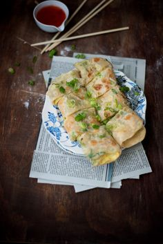 Green onion pancakes--one of my favorite Chinese treats. Such a simple ingredient list yields spectacular results!