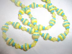 Pastel Turquoise Blue & Yellow Jade Beaded by GrammyKayesCreations