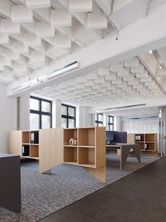 Movet's Schorndorf Office Loft / Studio Alexander Fehre -- Foam sound baffles, in ceiling above open office spaces - do they do enough?