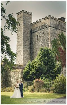 wedding couple standing in front of tower in Barberstown Castle, county kildare   Wedding Photography by Bigger Picture Photography, Caragh, Co. Kildare, Ireland