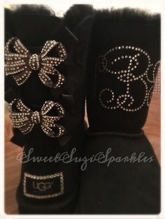 The price I have listed on this item is for purchasing the boots and embellishing. Please include size and color with order, and if you have Tims Boots, Cute Boots, Bling Shoes, Shoes Heels, Ugg Boots With Bows, Winter Snow Boots, Custom Shoes, Leather Boots, Color