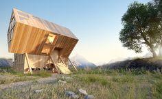 Superbe Valley House est une cabane en bois géométrique inspirée par ...