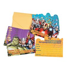 Avengers Assemble Invitations/Thank-You Postcards - OrientalTrading.com