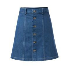 Single-breasted A-Line Denim Skirt (1470 RSD) ❤ liked on Polyvore