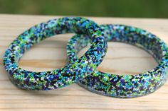 Galaxy Candy Sprinkle Resin Bangle Bracelet  Small by tranquilityy, $13.00