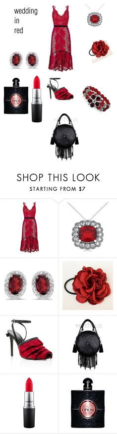 """wedding in red"" by angela-villano ❤ liked on Polyvore featuring Three Floor, Allurez, BillyTheTree, Marco de Vincenzo, MAC Cosmetics, Yves Saint Laurent and 1928"