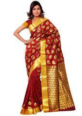 Classic Rust Red Kanchipuram Silk Saree - https://www.ethanica.com/products/classic-rust-red-kanchipuram-silk-saree