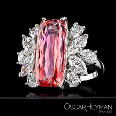 Oscar Heyman. Via American Gem Trade Association (@agta_gems) on Instagram: We are tickled pink by this stunning platinum ring featuring a 7.52 ct. imperial iTopaz accented with Diamonds (2.17 ctw.) from #AGTAMember, Oscar Heyman.