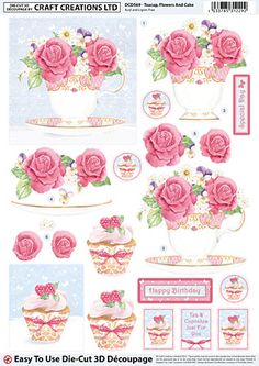 Teacup Flowers And Cake Découpage – DCD569