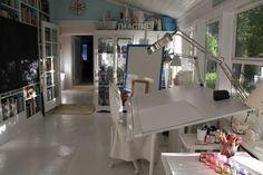Art Studio Storage Ideas | Drafting table and storage | caravan ideas for art studio