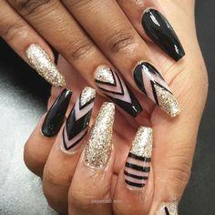 Nail art Nail designs Black and gold nails…