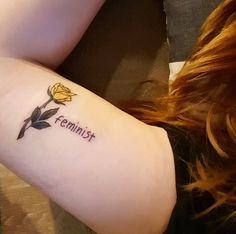 This statement accompanied by a chic flower: 24 feminist tattoos that make you want ink Time Tattoos, Body Art Tattoos, Tatoos, Still I Rise Tattoo, Antler Tattoos, Girl Power Tattoo, Feminist Tattoo, Tattoo Designs And Meanings, Tattoo Ideas
