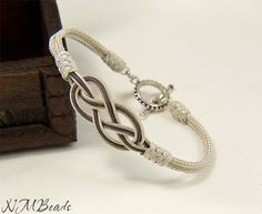 Pure Silver Love Knot Bracelet with 925K Silver by NMBeadsJewelry, $76.90
