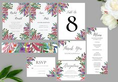 Botanical Leaves, Flowers Wedding Invitation Set, Printable Invitation, Wedding Templates, Printed Invitations | DIGITAL PRINTABLE Holiday Cards, Christmas Cards, Christmas Card Template, Reception Card, Leaf Flowers, Wedding Templates, Wedding Invitation Sets, Menu Cards, Printable Invitations