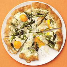 Asparagus, Ricotta, and Egg Pizza | Unusual ingredients, excellent flavor.  I used a baking soda crust for a speedy supper: 2c flour, 1/8 tsp salt, 2 tsp baking powder + 3/4 c milk, 1/3 c olive oil.