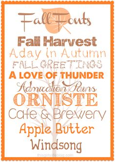 Fall Friday: Favorite Free Fall Fonts - This Girls Life Fall Fonts, Cricut Fonts, Girls Life, Typography Fonts, Printables, Letters, Photoshop, Words, Crafts