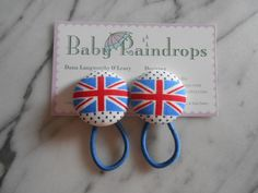 Union Jack pony tail holders by Baby Raindrops.