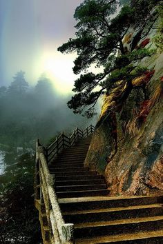 Stairs to heaven, Huangshan, China