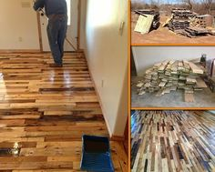 The humble pallet strikes again! Learn how this recycled pallet flooring is made by viewing the full album of the project at http://theownerbuildernetwork.co/mar5 Thumbs up?