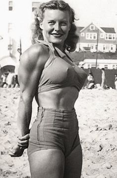"""Abbye Eville, seen here in Stockton, CA, became known as """"Queen of the Barbelles""""  became the poster-girl for fitness. In the 1940s, she organized the first all-female weight-lifting contest and opened the first all women's gym in the United States. #vintage"""