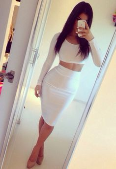 summer outfit. white fitted crop top + long sleeves. white fitted midi skirt. summer party outfit.