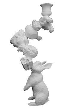 Rabbit in Wonderland candlestick holder Dining Room Office, Office Nook, Candlestick Holders, Candlesticks, Kids Meals, Smurfs, Garden Sculpture, Wonderland, Rabbit