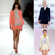 This spring sees a trend for pairing shorts with blazers. Will this look work for you? Michelle Williams makes it look easy.