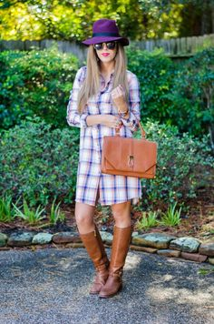 DETAILS Catch Bliss Boutique plaid dress c/o | Tory Burch riding boots [last year] – similar [currently $200 off!] | Sole Society satchel c/o | Prima donna hat c/o | Kendra Scott 'Alexandra' earrings c/o | Kendra Scott 'Naomi' double ring c/o | Michael Kors watch | Janna Conner ...