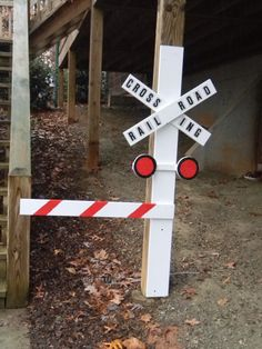 Railroad crossing sign for Thomas the Train birthday party. Bought the letters from Lowes in the mailbox department.