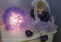 """A """"tutu lamp"""" you make out of tulle, a glass globe & Christmas lights! Fashionista Bedroom, Tulle Lights, Clown Wig, Purple Tutu, Pink, How To Make Tutu, Daughters Room, Crafts For Kids To Make, Fun Crafts"""