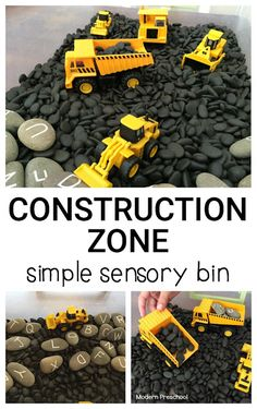 Construction zone simple sensory bin - perfect for toddlers and preschoolers who…