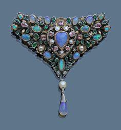 'Loves Garland' Triangular Corsage Brooch by ARTHUR & GEORGIE GASKIN - The Association of Art and Antique Dealers - LAPADA