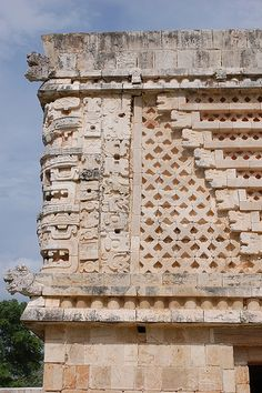 Relief of ancient Maya city Uxmal in Mexico