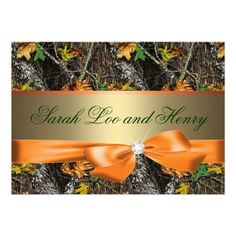 Orange Formal Camo Wedding Invitation templates for your camouflage wedding.