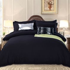 Find More Bedding Sets Information about Black Bedding Set in King Queen Size Luxurious Silk Bed Set Duvet Cover Flat Bedsheets Tencel Cozy Bedroom Textile Jogo de Cama,High Quality bedding set for kids,China bedding king size beds Suppliers, Cheap bedding set for babies from Lena Small Wholesale Shop on Aliexpress.com