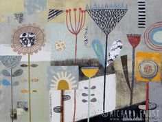 ©Richard Faust - 'Garden' acrylic and collage on canvas. www.richardfaust.com