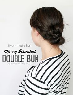 Messy Braided Double Bun: Easy five minute hairstyle with messy braided buns that looks chic and effortless for medium length hair.