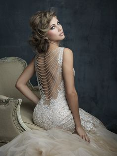Shop the Allure Couture wedding dress! This sleeveless tulle fit-and-flare gown features a V-neckline with embroidery and a vintage-inspired beaded back. Western Wedding Dresses, Dream Wedding Dresses, Bridal Dresses, Wedding Gowns, Bridesmaid Dresses, Tulle Wedding, Mermaid Wedding Dress Bling, Trumpet Wedding Dresses, Trumpet Gown