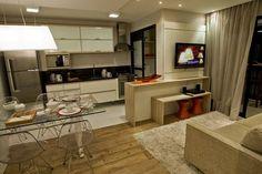 20 Cozinhas e salas integradas e pequenas - veja ótimas ideias para apartamentos!