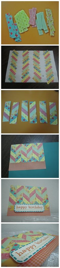 photo tutorial: how to make a chevron card ,,,