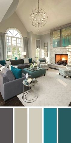 21 Living Room Color Schemes That Express Yourself. Uniquely colour combination in drawing room These living room color schemes will affect how the guests perceive the interior of your home. Let's enjoy these ideas and feel pleasure! Home And Living, Living Room Designs, Modern Room, Living Decor, Living Room Grey, Good Living Room Colors, Home Decor, House Interior, Neutral Living Room